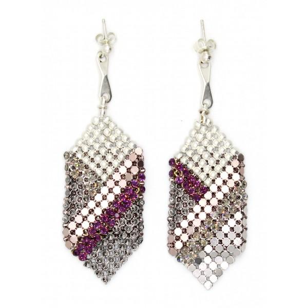 Laura B - Elise Earrings - Mesh and Swarovski Earrings - White Silver Magenta - Handmade Earrings - Luxury High Quality