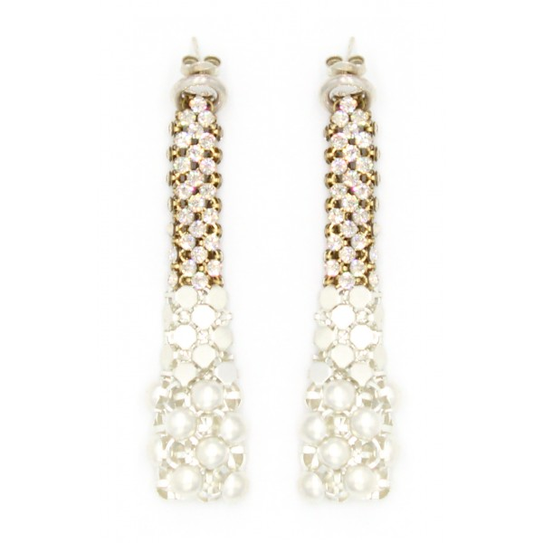 Laura B - Eiffel Earrings - Mesh and Swarovski Earrings - White - White Swarovski - Handmade Earrings - Luxury High Quality