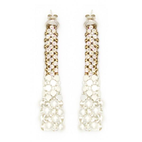Laura B - Eiffel Earrings - Orecchini in Maglia e Swarovski - Bianco - Swarovski Bianco - Artigianali - Alta Qualità Luxury