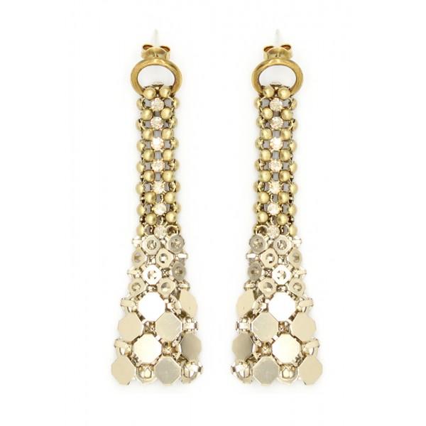 Laura B - Eiffel Earrings - Orecchini in Maglia e Swarovski - Oro - Swarovski Oro - Orecchini Artigianali - Alta Qualità Luxury