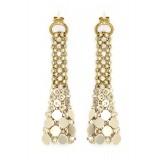 Laura B - Eiffel Earrings - Mesh and Swarovski Earrings - Gold - Gold Swarovski - Handmade Earrings - Luxury High Quality