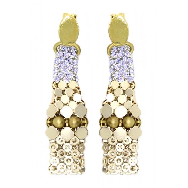 Laura B - 3&4&6 Earrings - Orecchini in Maglia e Swarovski - Oro - Swarovski Lilla - Orecchini Artigianali - Alta Qualità Luxury