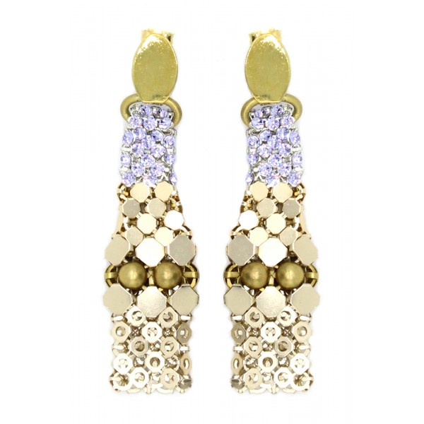 Laura B - 3&4&6 Earrings - Mesh and Swarovski Earrings - Gold - Lilac Swarovski - Handmade Earrings - Luxury High Quality