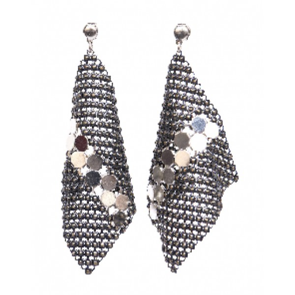 Laura B - New Basic Kite Earrings - Mesh and Swarovski Earrings - Doré - White Line - Handmade Earrings - Luxury High Quality