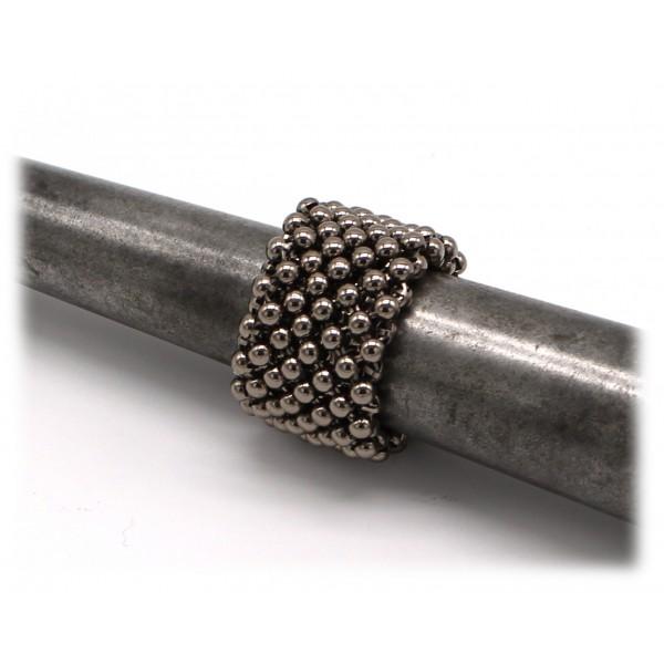 Laura B - Mercurio Basic Ring - Anello in Maglia - Argento Lucido - Anello Artigianale - Alta Qualità Luxury