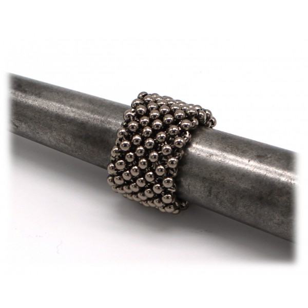 Laura B - Mercurio Basic Ring - Mesh Ring - Shiny Silver - Handmade Ring - Luxury High Quality