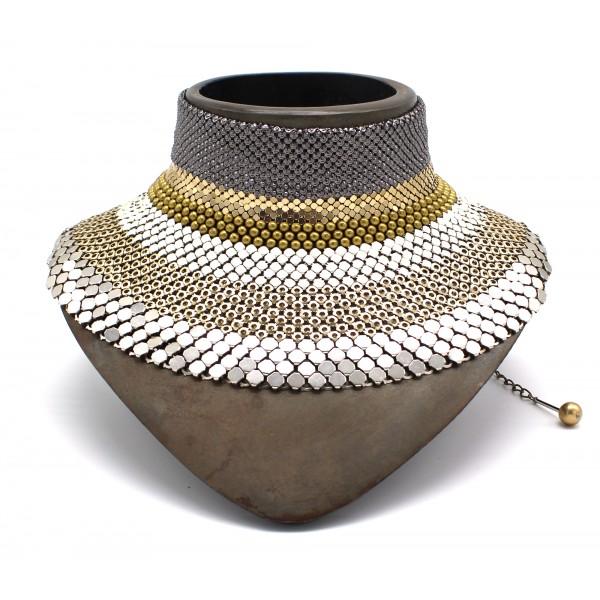 Laura B - 3&4&6 Choker - Collana in Maglia - Argento Lucido, Oro, Argento, Bianco - Collare Artigianale - Alta Qualità Luxury