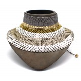 Laura B - 3&4&6 Choker - Mesh Necklace - Shiny Silver, Gold, Silver, White - Handmade Necklace - Luxury High Quality