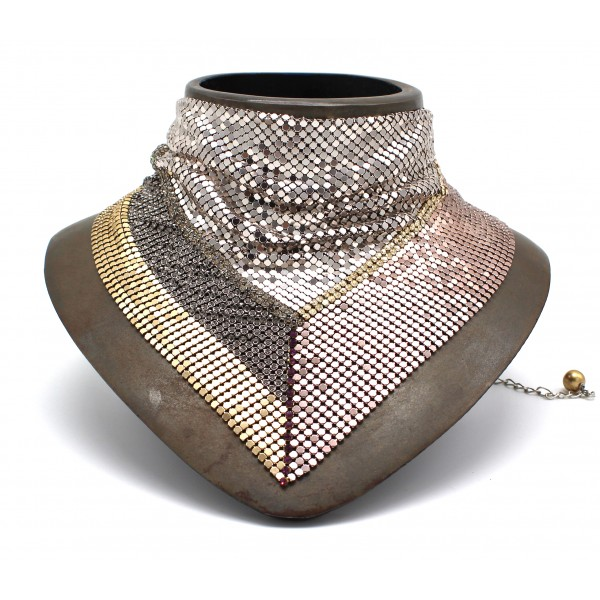 Laura B - Jeanne Bandana - Mesh Necklace - Rose, Gold, Shiny Silver - Gold Swarovski - Handmade Necklace - Luxury High Quality