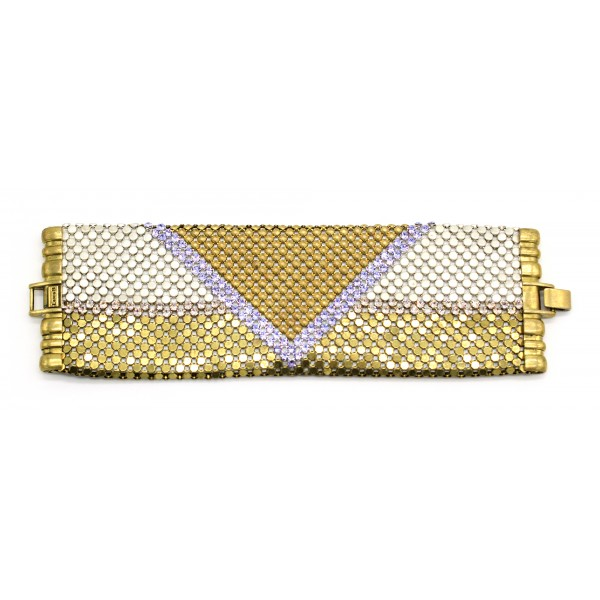 Laura B - Pyramid Cuff - Bracciale in Maglia e Swarovski - Oro - Swarovski Lilla - Bracciale Artigianale - Alta Qualità Luxury