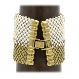Laura B - Pyramid Cuff - Mesh and Swarovski Bracelet - Gold - Lilac Swarovski - Handmade Bracelet - Luxury High Quality