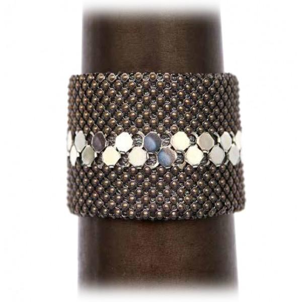 Laura B - New Basic Cuff - Bracciale in Maglia - Dorè - Linea Bianca - Bracciale Artigianale - Alta Qualità Luxury
