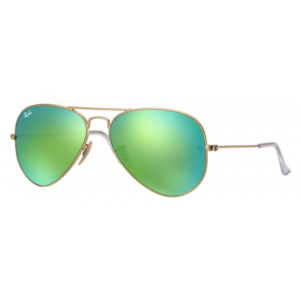Ray-Ban - RB3025 112/19 - Original Aviator Flash Lenses - Gold - Green Flash Lenses - Sunglass - Ray-Ban Eyewear