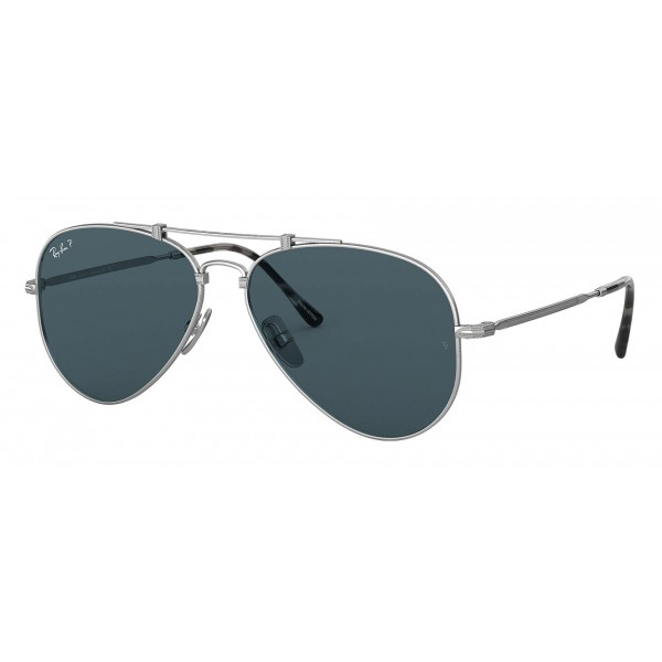 58422f30d0 Ray-Ban - RB8125 9165 - Original Aviator Titanium - Matte Silver -  Polarized Blue Mirror Lenses - Sunglass - Ray-Ban Eyewear - Avvenice