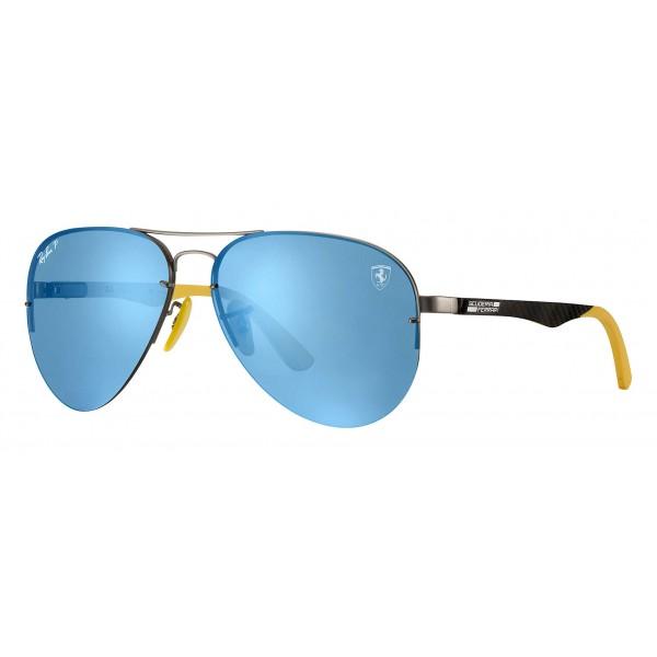 Ray-Ban - RB3460M F003H0 - Original Scuderia Ferrari Collection Aviator - Gunmetal - Blue Mirror - Sunglass - Eyewear