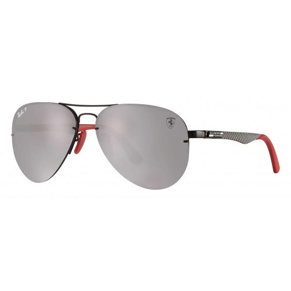 Ray-Ban - RB3460M F009H2 - Scuderia Ferrari Collection Aviator - Black Silver Red - Silver Mirror - Sunglass - Eyewear