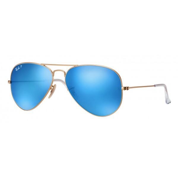 Ray-Ban - RB3025 112/4L - Original Aviator Flash Lenses - Gold - Polarized Blue Flash Lenses - Sunglass - Ray-Ban Eyewear