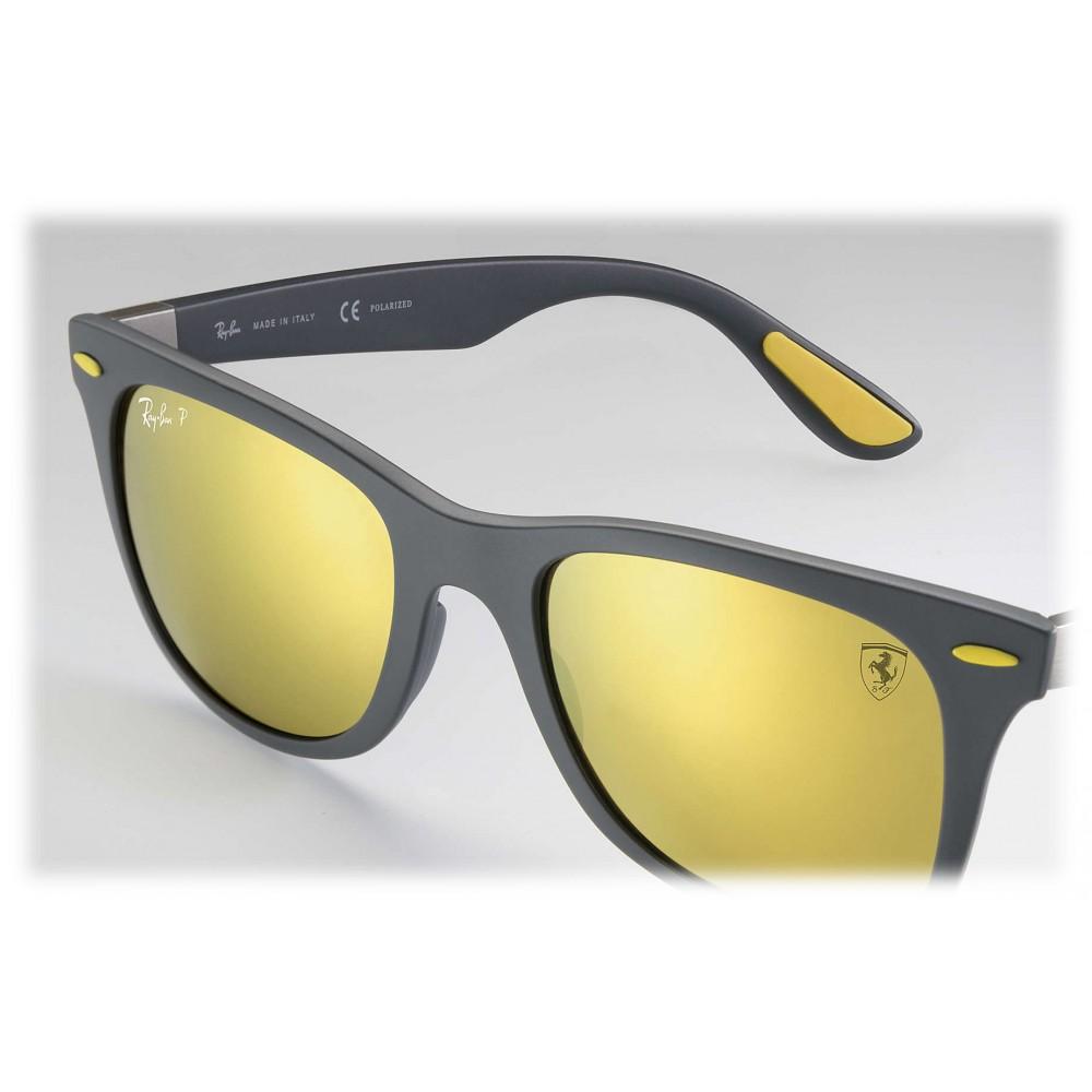 Ray Ban Rb4195m F6086b Original Scuderia Ferrari Collection Wayfarer Grey Black Gold Mirror Sunglass Eyewear Avvenice