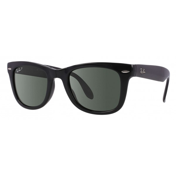 Ray-Ban - RB4105 601/58 - Original Wayfarer Folding Classic - Black - Polarized Green Classic G-15 Lenses - Sunglass - Eyewear