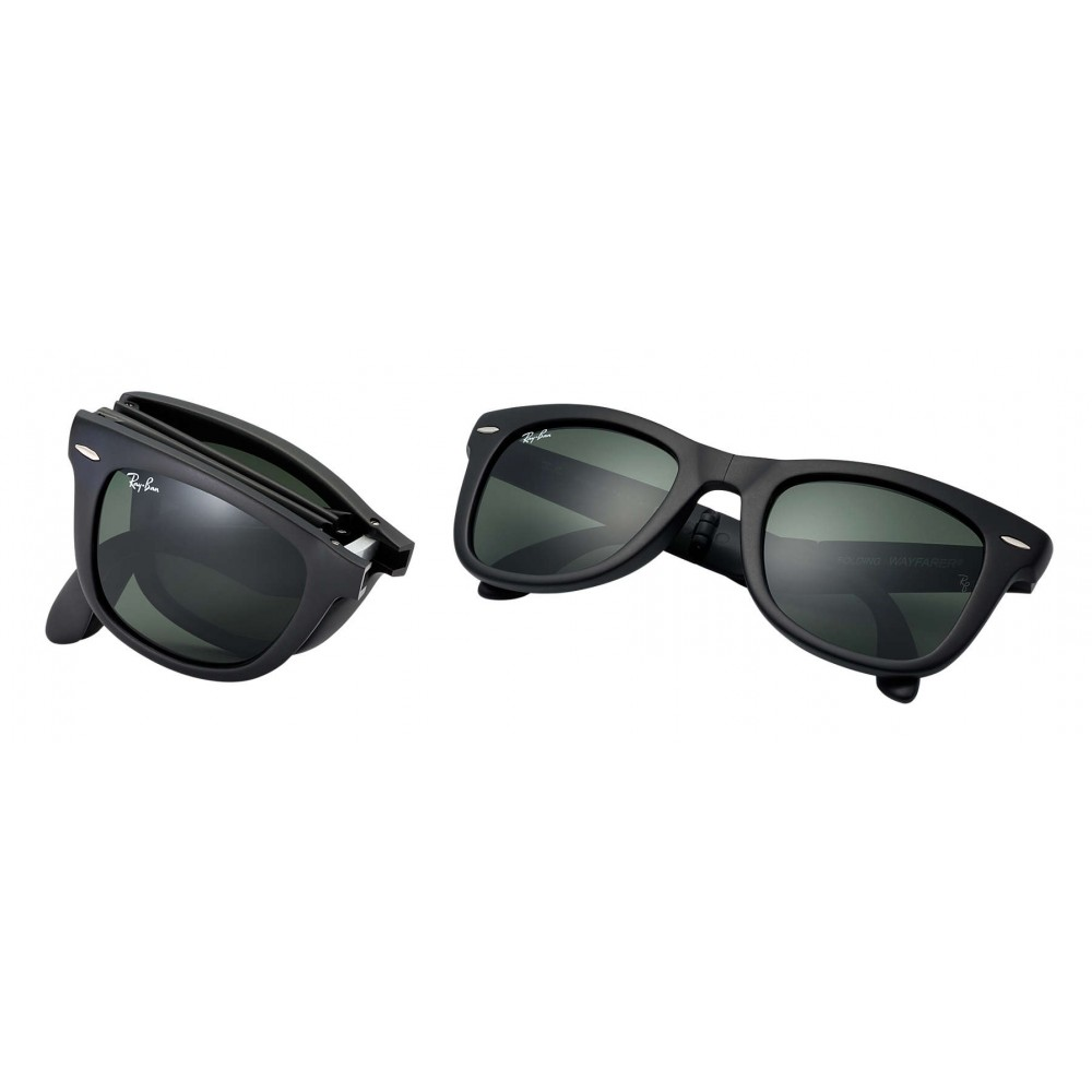 4db318dfc6 ... Ray-Ban - RB4105 601S - Original Wayfarer Folding Classic - Black -  Green Classic ...