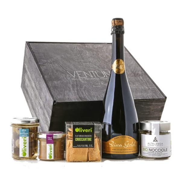 Ventuno - Piemonte Gioia Aperitivo Food Box - Nocciole - Bagna Cauda - Birra - Eccellenze Italiane - Gift Box Multisensoriale