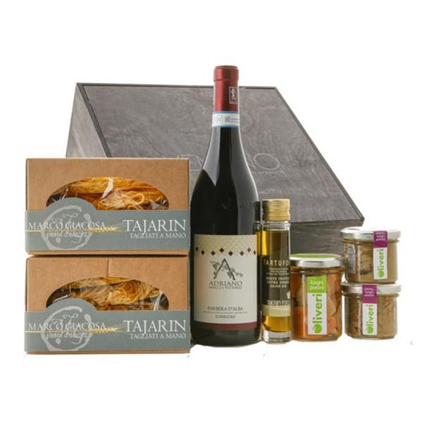 Ventuno - Piemonte Incanto Cena Food Box - Porcini - Tajarin - Barbera D'Alba - Eccellenze Italiane - Gift Box Multisensoriale