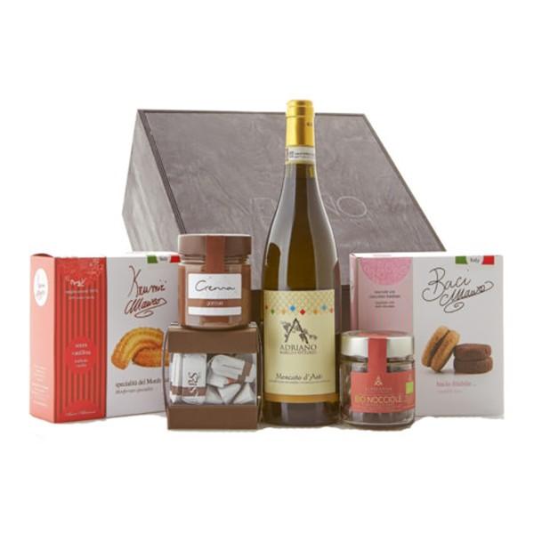 Ventuno - Piemonte Capriccio Dolce Food Box - Krumiri - Gianduiotti - Moscato - Eccellenze Italiane - Gift Box Multisensoriale