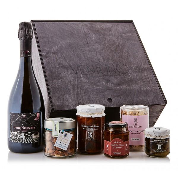 Ventuno - Sicilia Gioia Aperitivo Food Box - Capperi - Paté - Spumante Rosé - Eccellenze Italiane - Gift Box Multisensoriale