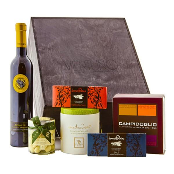 Ventuno - Sicilia Capriccio Dolce Food Box - Amaretti - Cioccolata - Passito - Eccellenze Italiane - Gift Box Multisensoriale