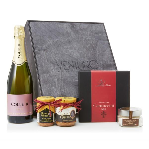Ventuno - Toscana Gioia Aperitivo Food Box - Tartufo - Paté - Spumante - Eccellenze Italiane - Gift Box Multisensoriale
