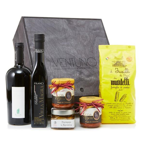 Ventuno - Toscana Incanto Cena Food Box - Agrodolce - Fusilli - Vino Nobile - Eccellenze Italiane - Gift Box Multisensoriale