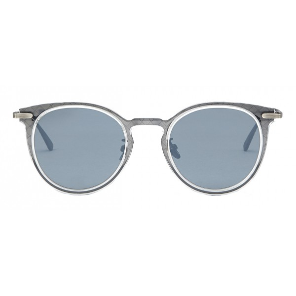 Bottega Veneta - Acetate Round Sunglasses - Crystal Silver - Sunglasses - Bottega Veneta Eyewear