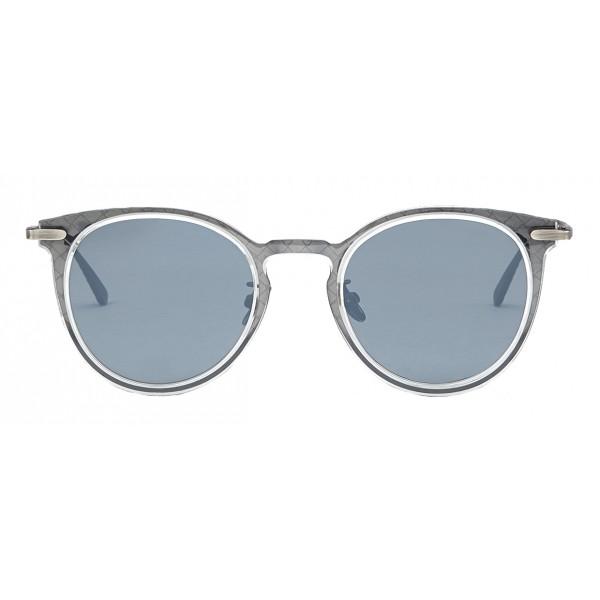 Bottega Veneta - Occhiali da Sole Rotondi in Acetato - Crystal Silver - Occhiali da Sole - Bottega Veneta Eyewear