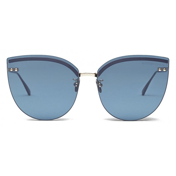 Bottega Veneta - Occhiali da Sole Cat Eye in Metallo - Blue - Occhiali da Sole - Bottega Veneta Eyewear