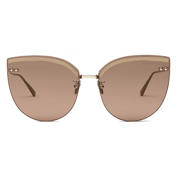 Bottega Veneta - Metal Cat Eye Sunglasses - Gold - Sunglasses - Bottega Veneta Eyewear