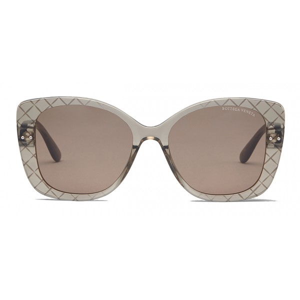 Bottega Veneta - Acetate Square Oversize Sunglasses - Brown - Sunglasses - Bottega Veneta Eyewear