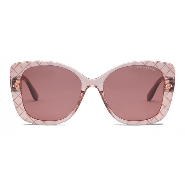 Bottega Veneta - Acetate Square Oversize Sunglasses - Pink - Sunglasses - Bottega Veneta Eyewear