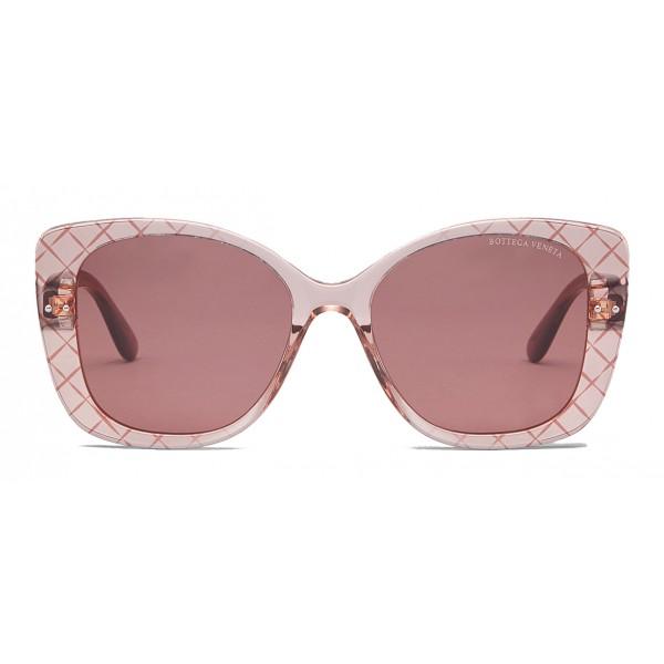 Bottega Veneta - Occhiali da Sole Quadrati Oversize in Acetato - Pink - Occhiali da Sole - Bottega Veneta Eyewear