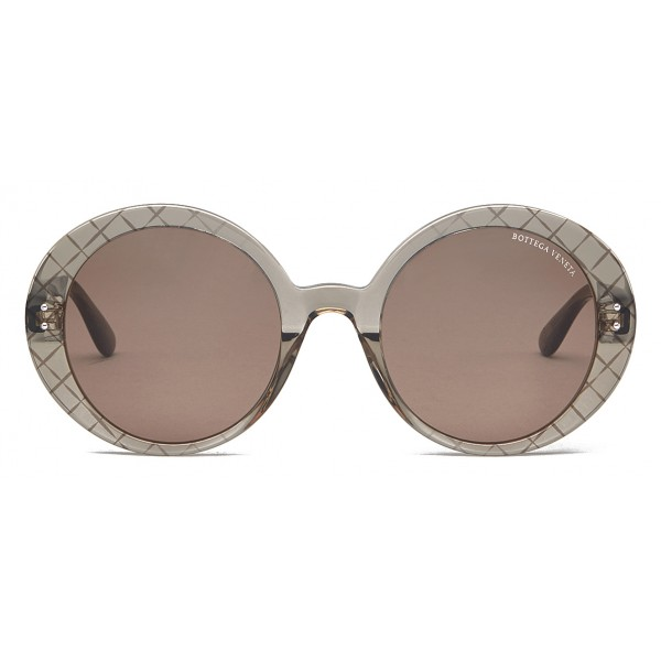 Bottega Veneta - Acetate Round Oversize Sunglasses - Brown - Sunglasses - Bottega Veneta Eyewear