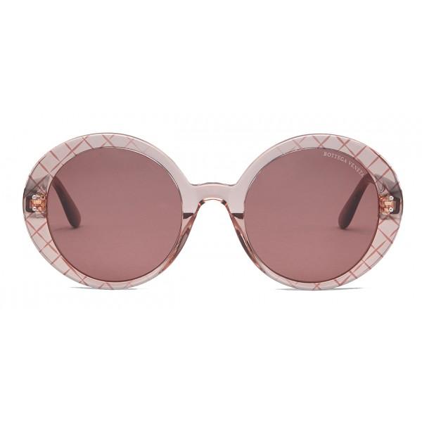 Bottega Veneta - Occhiali da Sole Rotondi Oversize in Acetato - Pink - Occhiali da Sole - Bottega Veneta Eyewear