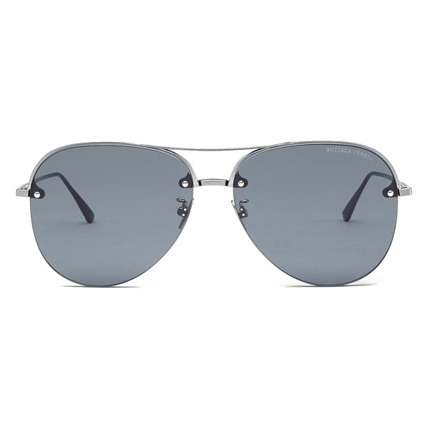 Bottega Veneta - Occhiali da Sole Aviator in Metallo  - Ruthenium Black Blue - Occhiali da Sole - Bottega Veneta Eyewear