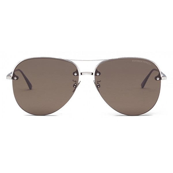 Bottega Veneta - Occhiali da Sole Aviator in Metallo - Silver Brown - Occhiali da Sole - Bottega Veneta Eyewear