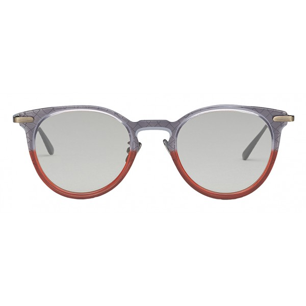 Bottega Veneta - Occhiali da Sole Rotondi in Acetato - Grey Transparent - Occhiali da Sole - Bottega Veneta Eyewear