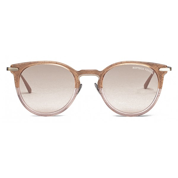 Bottega Veneta - Occhiali da Sole Rotondi in Acetato - Brown Pink - Occhiali da Sole - Bottega Veneta Eyewear