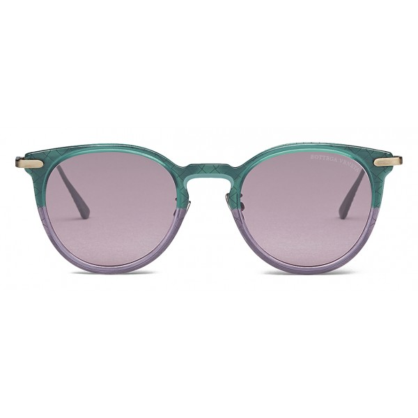 Bottega Veneta - Acetate Round Sunglasses - Green Violet - Sunglasses - Bottega Veneta Eyewear
