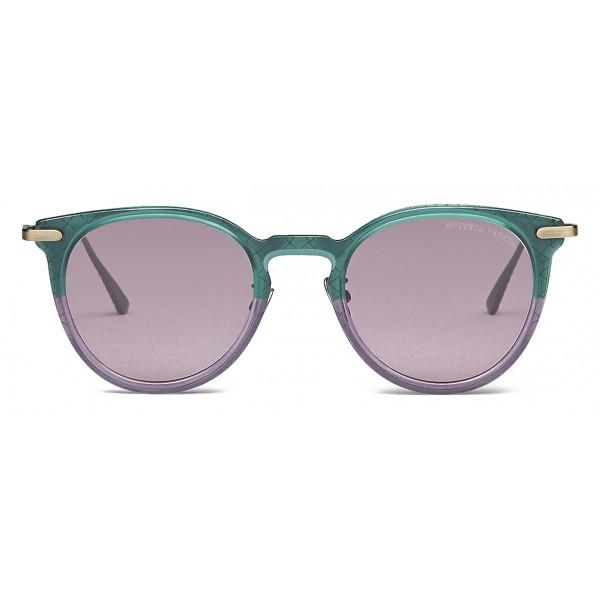 Bottega Veneta - Occhiali da Sole Rotondi in Acetato - Green Violet - Occhiali da Sole - Bottega Veneta Eyewear