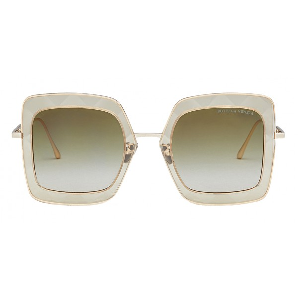 Bottega Veneta - Acetate Square Oversize Sunglasses - Yellow Gold Green - Sunglasses - Bottega Veneta Eyewear