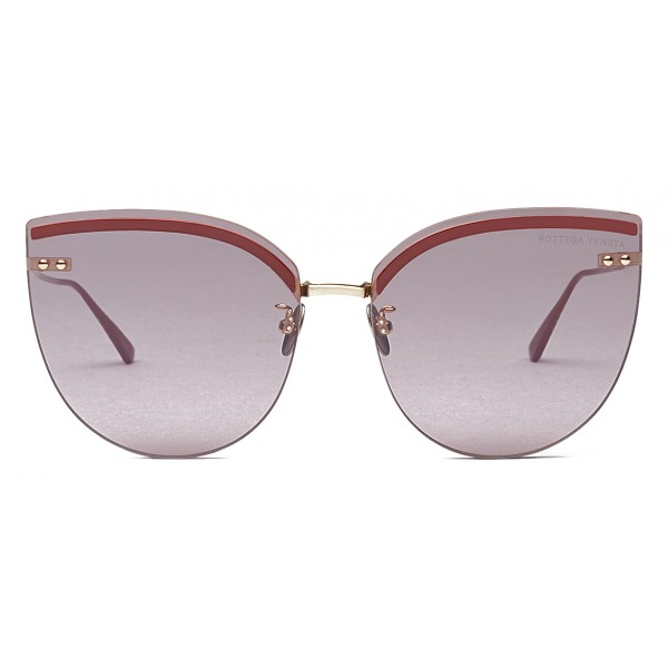 Bottega Veneta - Metal Cat Eye Sunglasses - Burgundy Pink - Sunglasses - Bottega Veneta Eyewear