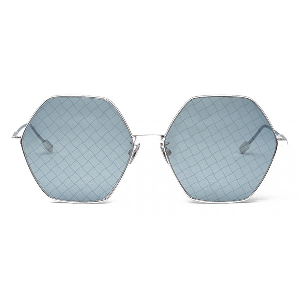 Bottega Veneta - Metal Hexagonal Oversize Sunglasses - Silver Blue - Sunglasses - Bottega Veneta Eyewear