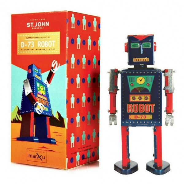 Saint John - D-73 Robot - Giocattolo di Latta Retro da Collezione Meccanico a Carica - Rosso e Blu - Tin Toys